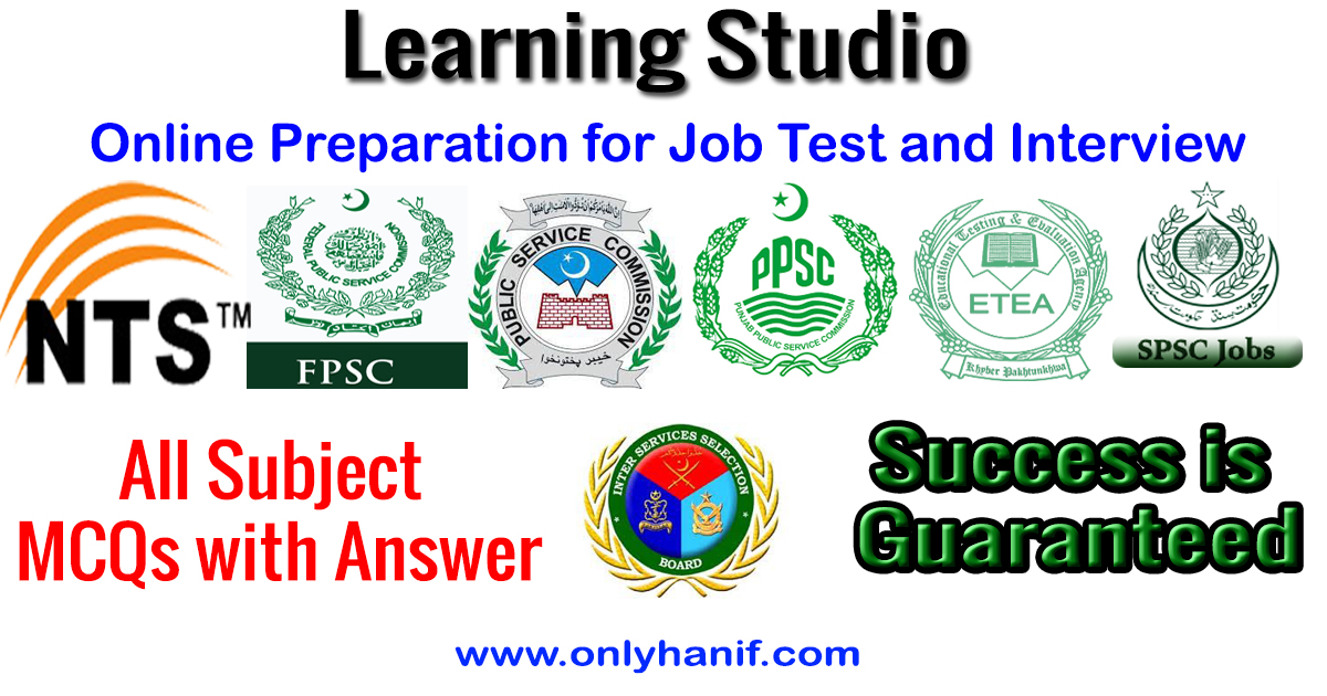 onlyhanif learning studio online mcqs with answer